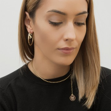 Earrings Letters Hoops Gold Plated