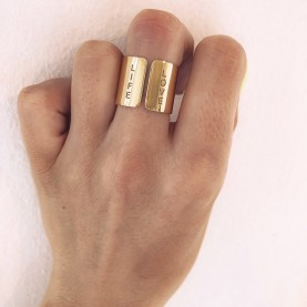 Ring WIDE LOVE LIFE GOLD PLATED