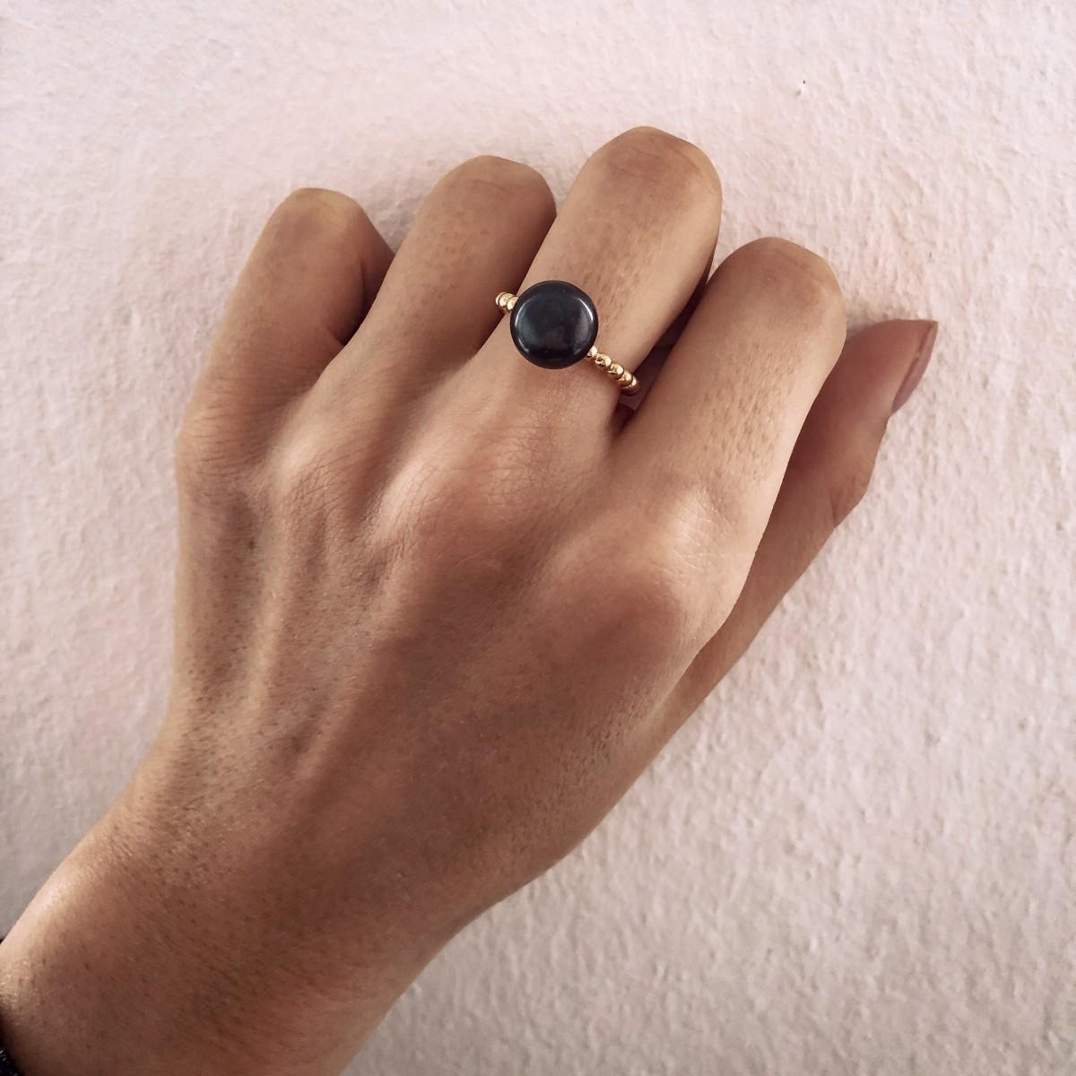 Pierścionek  Boho Black Pearl