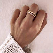 Ring Beaded Letter Gold Plated