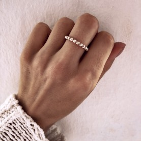 Ring Beaded Letter Rose Gold Plated