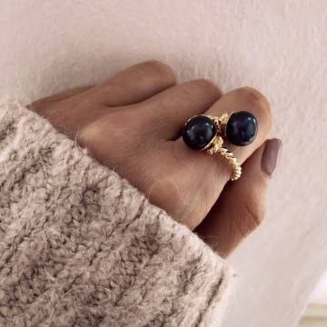 Ring Boho Double Black Pearl