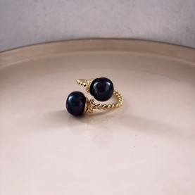 Ring Boho Double Black Pearl