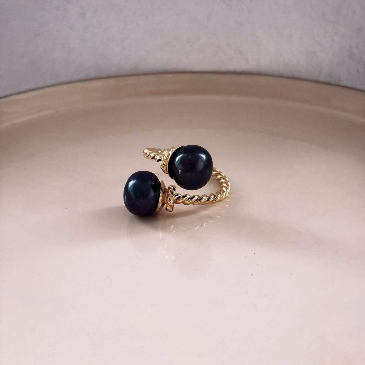 Pierścionek  Boho Double Black Pearl