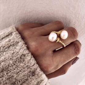 Ring Boho Double White Pearl