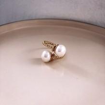 Pierścionek  Boho Double White Pearl