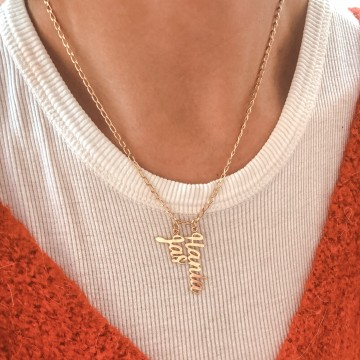 Necklace Letters Sign Long  Gold Plated