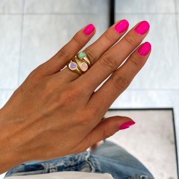 Pierścionek Enamel Pink