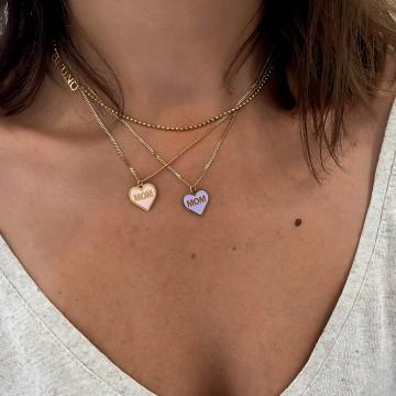 Necklace Enamel Heart Pink