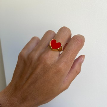 Signet Ring Enamel Red