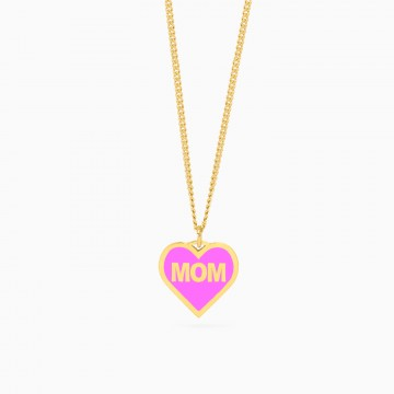 Naszyjnik Enamel Heart Pink