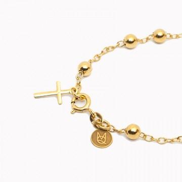 bransoletka beaded rosary pozłacany