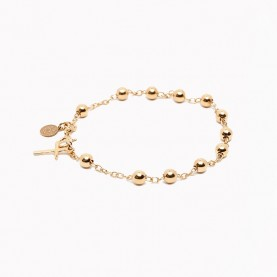 bracelet beaded rosary gold plated